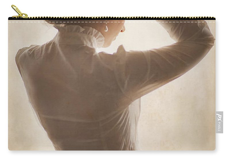Edwardian Carry-all Pouch featuring the photograph Edwardian Woman Styling Her Hair by Lee Avison