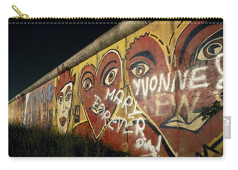 Berlin Wall Carry-all Pouch featuring the photograph Berlin Wall Hearts by Shaun Higson
