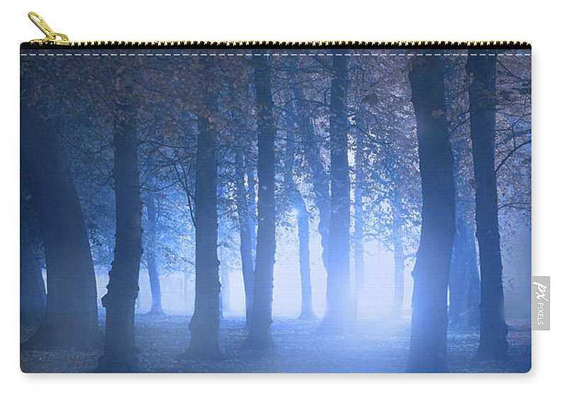Forest Carry-all Pouch featuring the photograph Eerie Woodland Scene At Nigh Time In Fog by Lee Avison