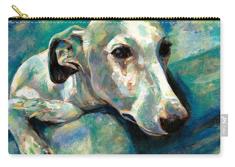 Whippet Paintings Carry-all Pouch featuring the painting Effects Of Gravity 1 by Derrick Higgins
