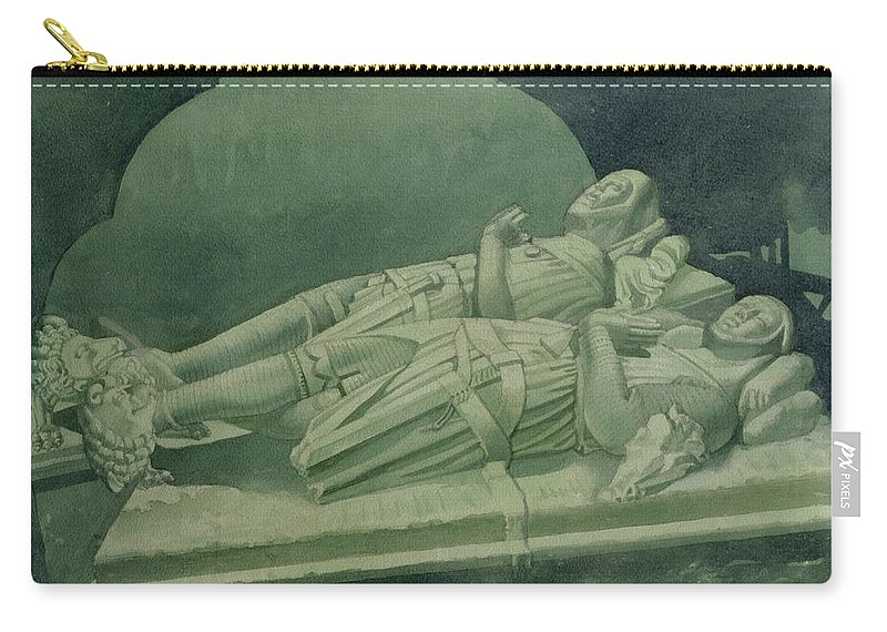Tomb Carry-all Pouch featuring the drawing Effigies, Winchelsea Church by Osmund Caine