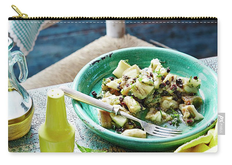 Temptation Carry-all Pouch featuring the photograph Eggplant, Mint And Sultana Salad by Brett Stevens