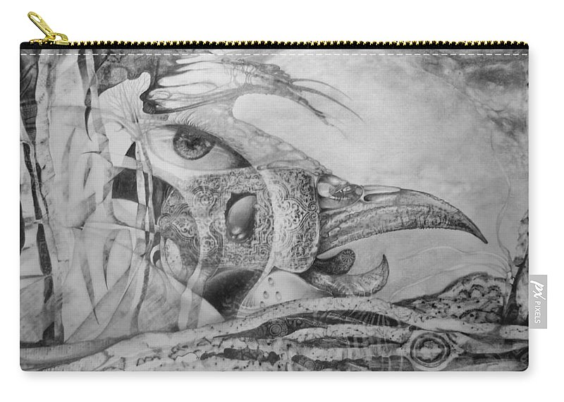 Surreal Bird Carry-all Pouch featuring the drawing Ego-bird-fish Nesting Ground by Otto Rapp