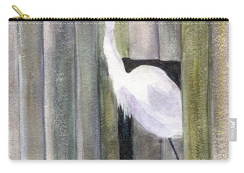 Egret Carry-all Pouch featuring the painting Egret At John's Pass by Mickey Krause