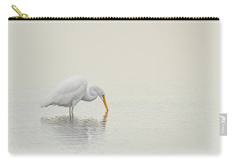 Great Egret Carry-all Pouch featuring the photograph Egret Finds Himself by Karol Livote
