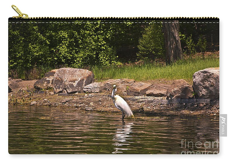 Egret Carry-all Pouch featuring the photograph Egret In Central Park by Madeline Ellis