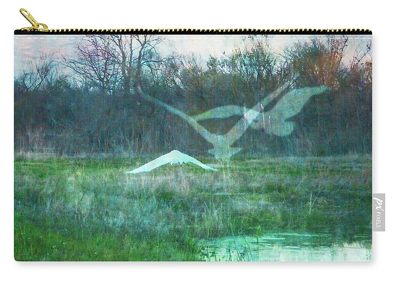 Egret Carry-all Pouch featuring the digital art Egret In Retreat by Lizi Beard-Ward