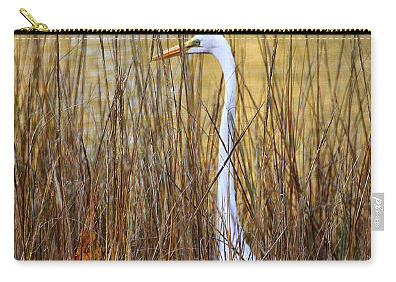 Wildlife Carry-all Pouch featuring the photograph Egret In The Grass by William Selander