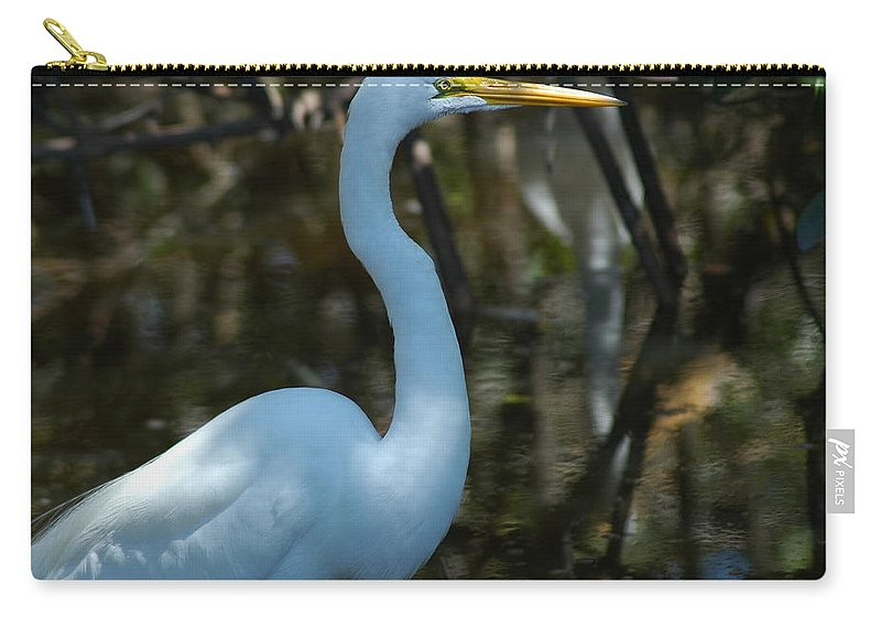 Egret Carry-all Pouch featuring the photograph Egret Of Sanibel 3 by David Weeks