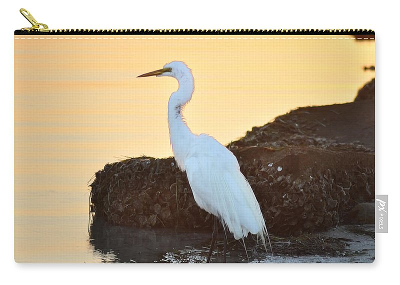 Egret Carry-all Pouch featuring the photograph Egret On Dunedin Causeway by Bill Cannon