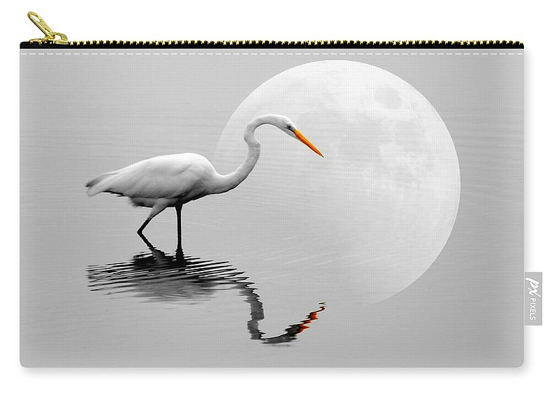 Bird Carry-all Pouch featuring the photograph Egret With Moon by Diana Angstadt