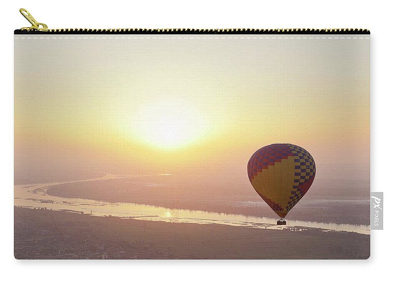 Luxor Carry-all Pouch featuring the photograph Egypt, View Of Hot Air Balloon Over by Westend61