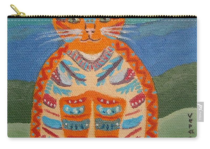 Red Cat Carry-all Pouch featuring the painting Egyptian Don Juan by Vera Smith