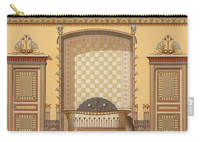 Illustration Carry-all Pouch featuring the drawing Egyptian Interior , From Interior by Georges Remon