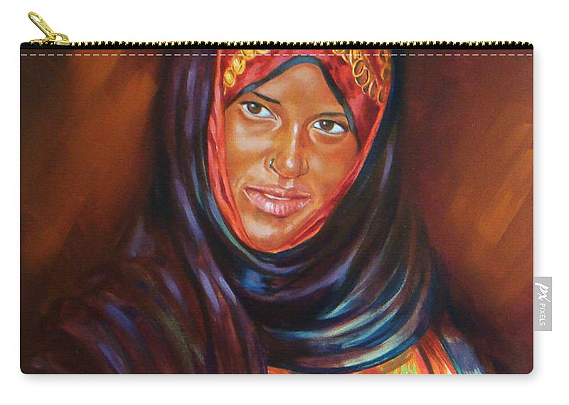 Portrait Carry-all Pouch featuring the painting Egyptian Nubian Girl by Ahmed Bayomi