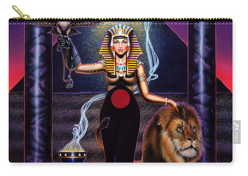 Egypt Carry-all Pouch featuring the painting Egyptian Queen by Timothy Scoggins
