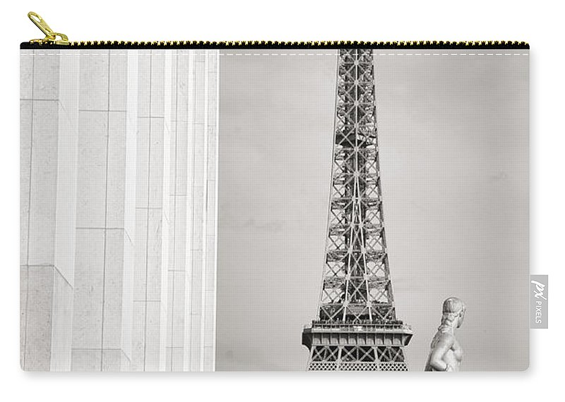 Eiffel Tower Carry-all Pouch featuring the photograph Eiffel Tour Paris Black And White by For Ninety One Days