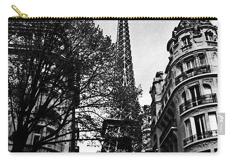 Vintage Eiffel Tower Carry-all Pouch featuring the photograph Eiffel Tower Black And White by Andrew Fare