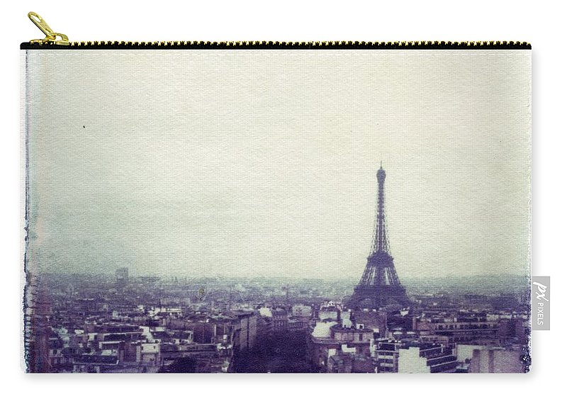 Eiffel Tower Carry-all Pouch featuring the photograph Eiffel Tower Paris Polaroid transfer by Jane Linders