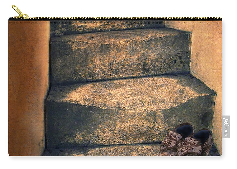 Stairs Carry-all Pouch featuring the photograph Eighteenth Century Shoes On Old Stairway by Jill Battaglia