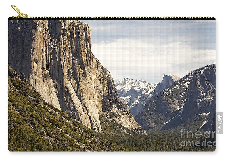 El Capitan Carry-all Pouch featuring the photograph El Capitan And Half Dome by B Christopher