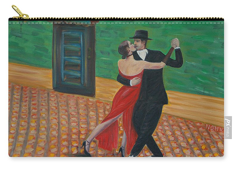 Tango Carry-all Pouch featuring the painting El Ultimo Tango by Nicolas Nomicos