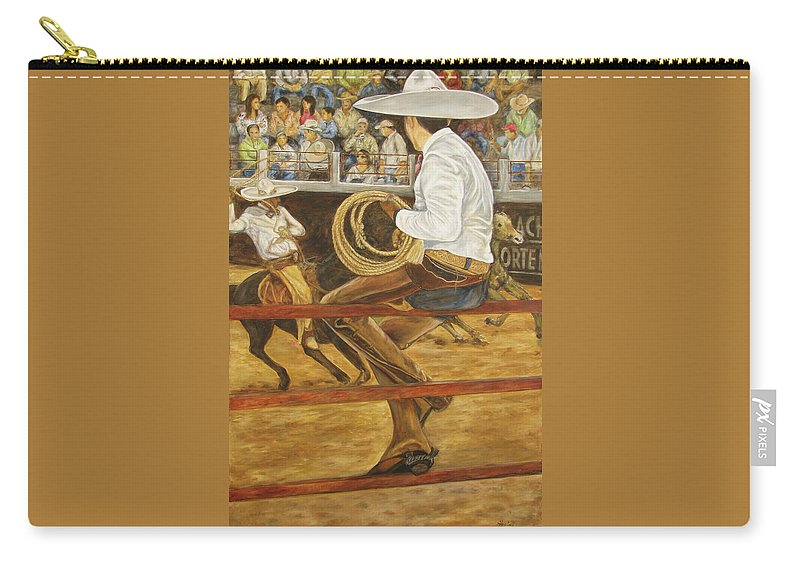 Mexican Carry-all Pouch featuring the painting El Vaquero Que Ata by Pat Haley
