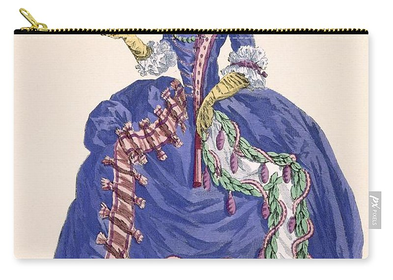 Carry-all Pouch featuring the drawing Elaborate Court Dress In Electric Blue by Augustin de Saint-Aubin