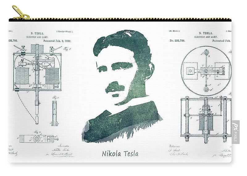 Electric Arc Lamp Carry-all Pouch featuring the digital art Electric Arc Lamp Patent Art Nikola Tesla by Justyna JBJart