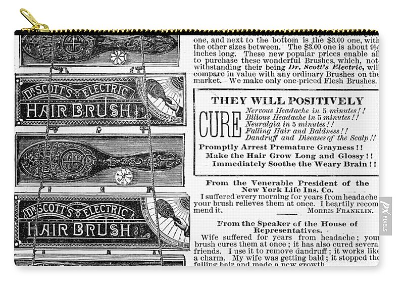 1882 Carry-all Pouch featuring the photograph Electric Brushes, 1883 by Granger