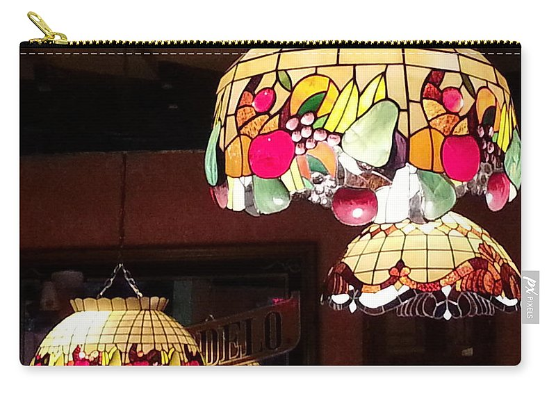 Lamp Carry-all Pouch featuring the photograph Electric Butterflies by Brenda Stevens Fanning