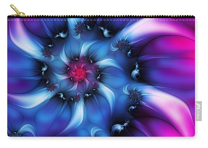 Digital Art Carry-all Pouch featuring the digital art Electric Colours by Gabiw Art