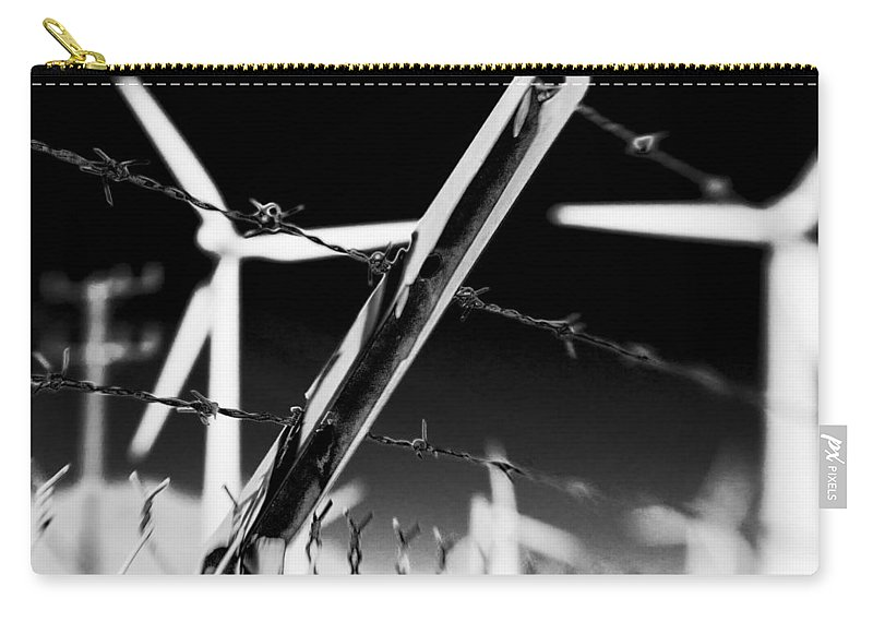 Wind Turbine Carry-all Pouch featuring the photograph Electric Fence Black And White by Scott Campbell