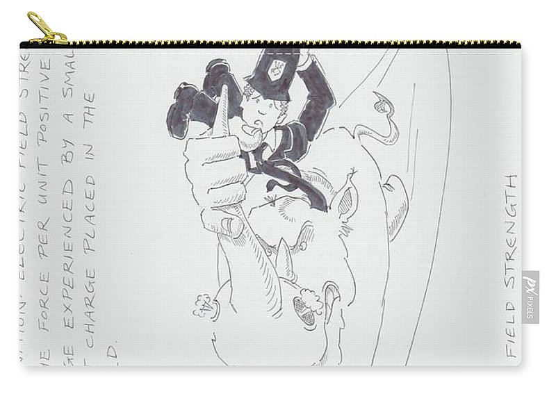 Electric Field Strength Cartoon Carry-all Pouch featuring the drawing Electric Field Strength Cartoon by Mike Jory
