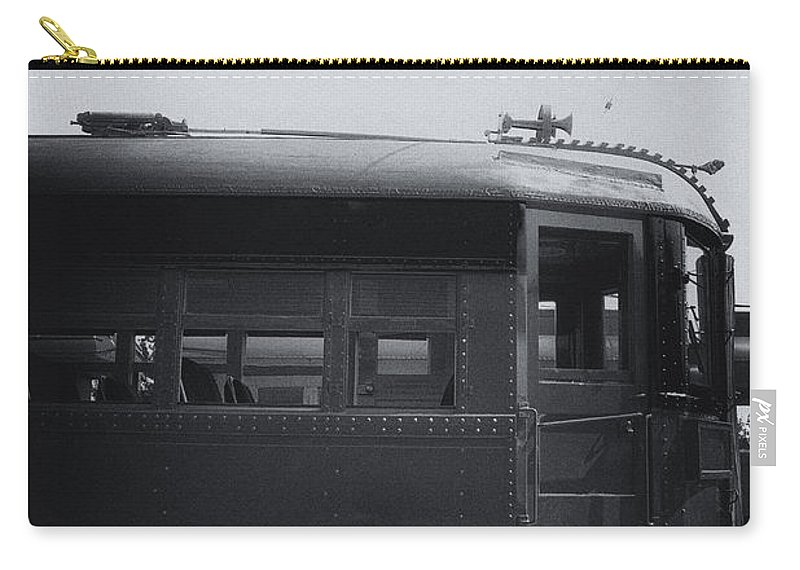 Train; Exterior; Vintage; Old; Car; Train Car; Transportation; Outside; Outdoors; Travel; Transport; Railway; Public Transportation; Electric; Profile; Station; Black; White Carry-all Pouch featuring the photograph Electric by Margie Hurwich