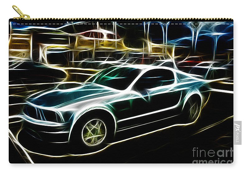 Neon Art Carry-all Pouch featuring the photograph Electric Mustang by Tommy Anderson