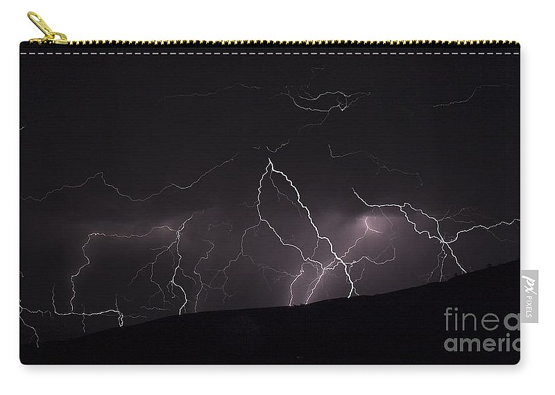 Lightning Carry-all Pouch featuring the photograph Electrified Hillside by J L Woody Wooden