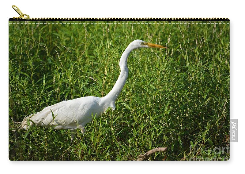 Great Egret Carry-all Pouch featuring the photograph Elegant Hunter by Deanna Cagle