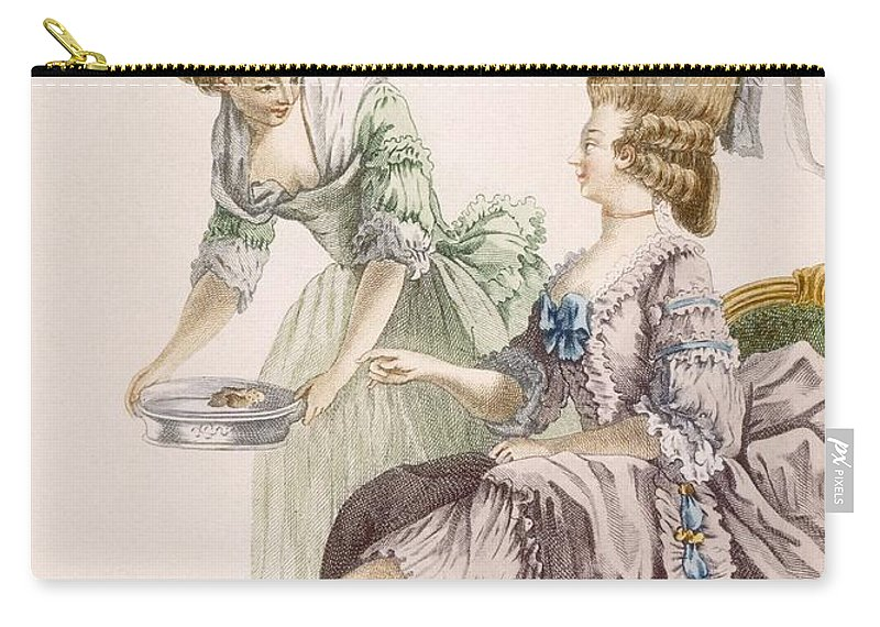 Clothing Carry-all Pouch featuring the drawing Elegant Lady Having Her Feet Washed by Pierre Thomas Le Clerc
