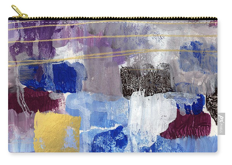 Contemporary Abstract Carry-all Pouch featuring the painting Elemental- Abstract Expressionist Painting by Linda Woods