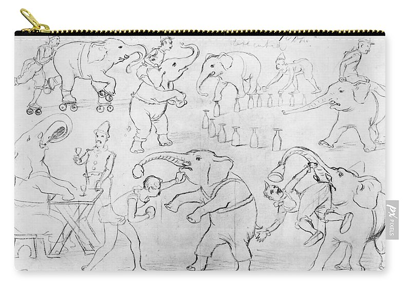 1880 Carry-all Pouch featuring the drawing Elephant Acts, 1880s by Granger