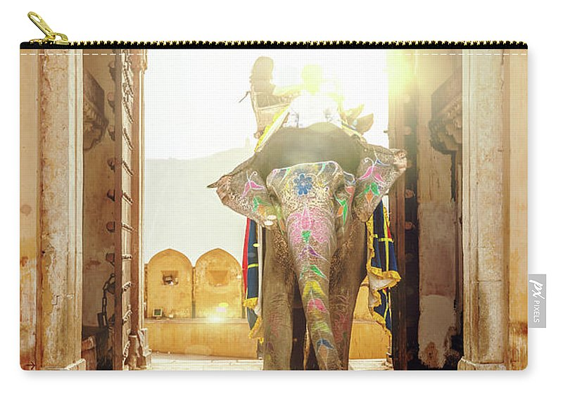 Working Animal Carry-all Pouch featuring the photograph Elephant At Amber Palace Jaipur,india by Mlenny