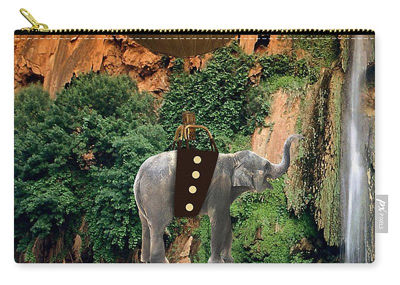 Elephant Art Carry-all Pouch featuring the mixed media Elephant Flight by Marvin Blaine