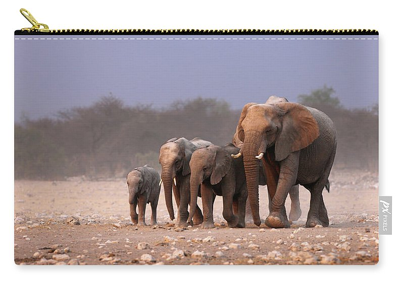 Wild Carry-all Pouch featuring the photograph Elephant Herd by Johan Swanepoel