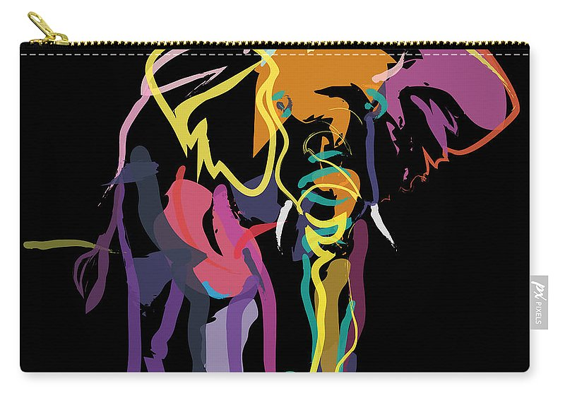 Wildlife Carry-all Pouch featuring the painting Elephant In Colour by Go Van Kampen
