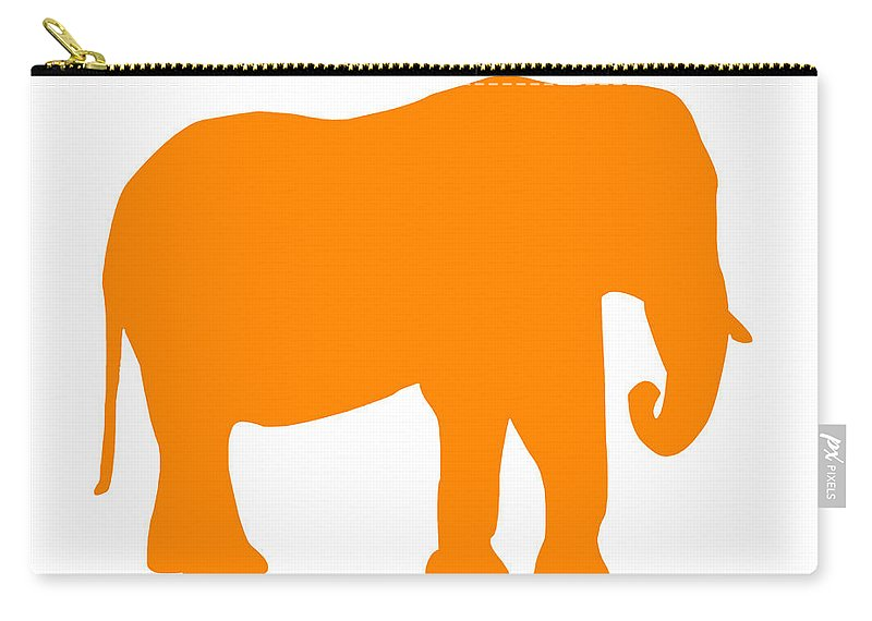 Graphic Art Carry-all Pouch featuring the digital art Elephant In Orange And White by Jackie Farnsworth