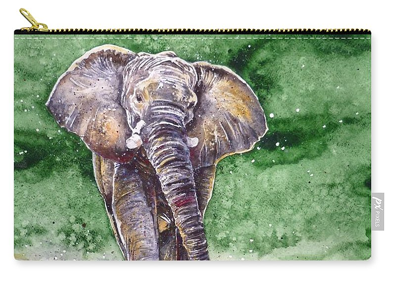 Elephant Carry-all Pouch featuring the painting Elephant by Zaira Dzhaubaeva