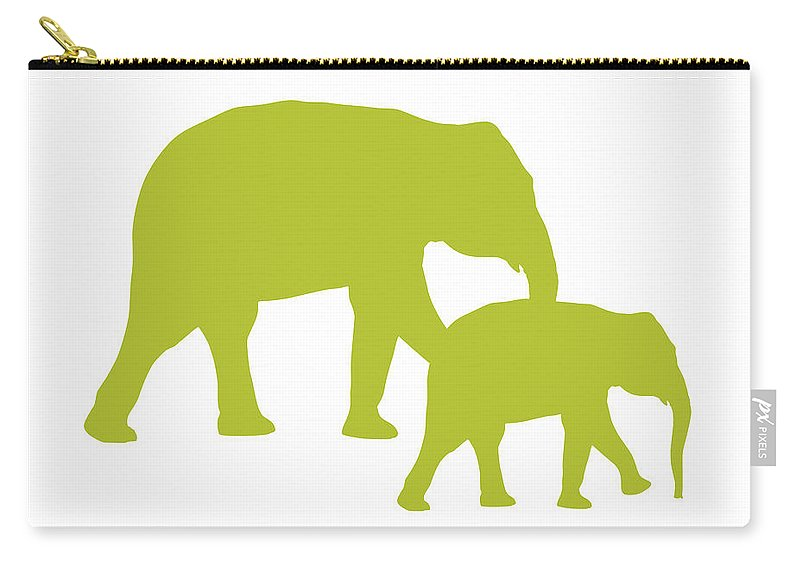 Graphic Art Carry-all Pouch featuring the digital art Elephants In White And Chartreuse by Jackie Farnsworth