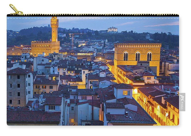 Florence Carry-all Pouch featuring the photograph Elevated Night View Of Central Florence by Liz Leyden
