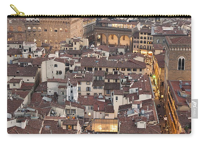 Italy Carry-all Pouch featuring the photograph Elevated View Of Florence by Liz Leyden